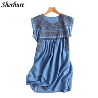 2018 New Summer Women Dress Vintage Embroidery Soft Denim Dress O Nekc Short Sleeve Blue Dress