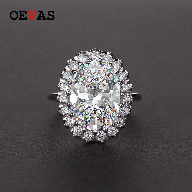 Luxury brand Big Oval Zircon crystal Wedding ring Top quality S925 Silver Sparkling High carbon AAAAA CZ jewelry Birth stone