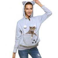 Cat Lovers Hoodie Sweatshirts With Cuddle Pouch Dog Pet Hoodies For Casual Kangaroo Pullovers Embroidery Women Tops