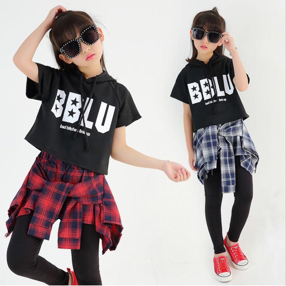 Girls Ballroom Modern Jazz Hip Hop Dancewear Costumes Set For Kid T Shirt Tops Pantskirt Dancing Party Stage Clothing Outfits