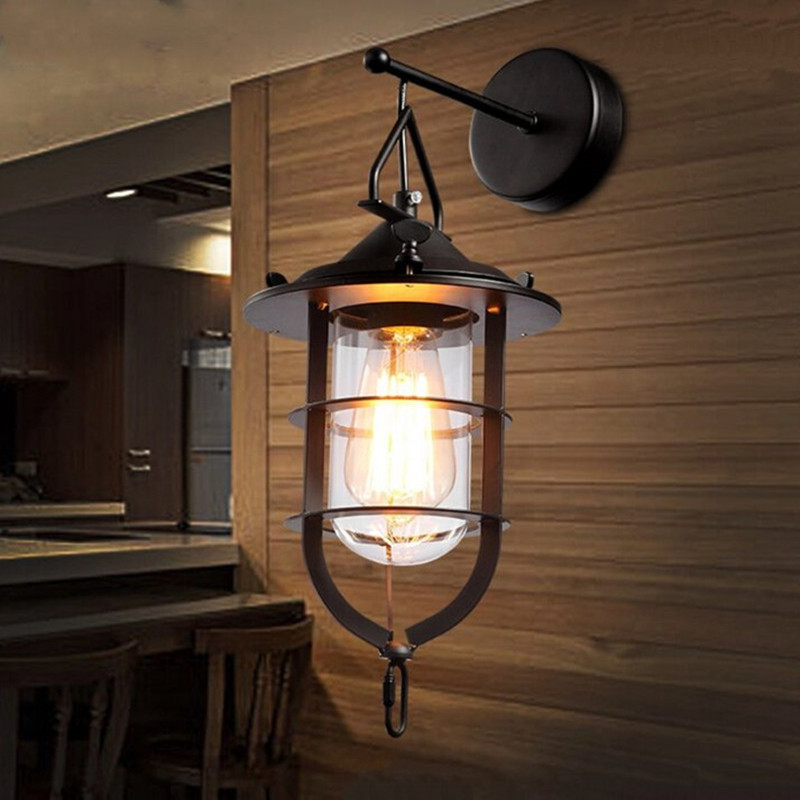 Loft Style Glass Restaurant Wall Lamp Vintage Cafe Wall Light Bar Living Room Decoration Light Free Shipping