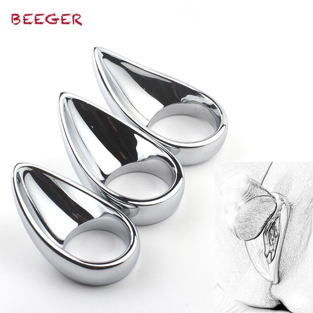 BEEGER Taint Licker Cock Ring - unique shape for extra stimulation,metal penis rings