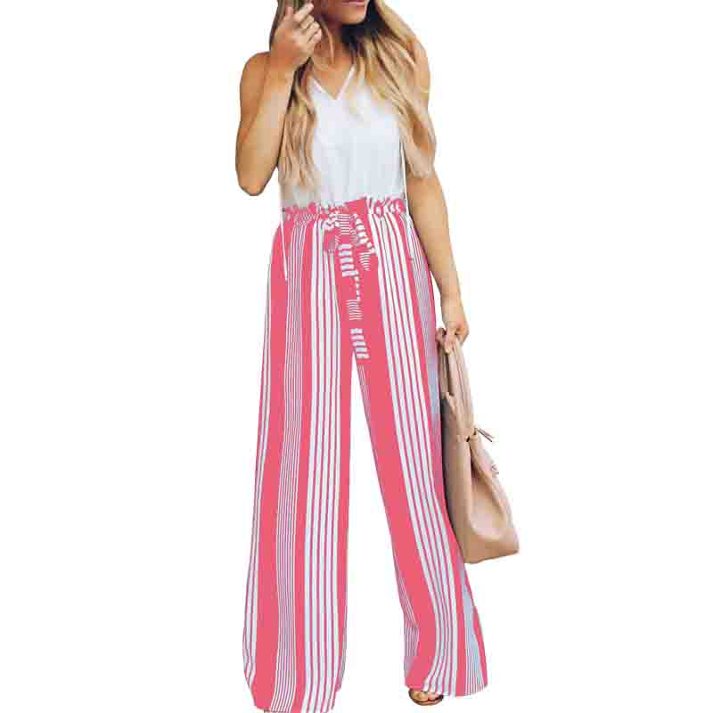 High Waist   Wide     Leg     Pants   Womens Striped Black Pink Brown Fashion Bandage Sashes Trousers Casual Loose Summer Clothes Streetwear