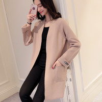 2017 New Spring Korean Women S Sweater Collar Cardigan Size V Long Sleeved Loose Color Coat