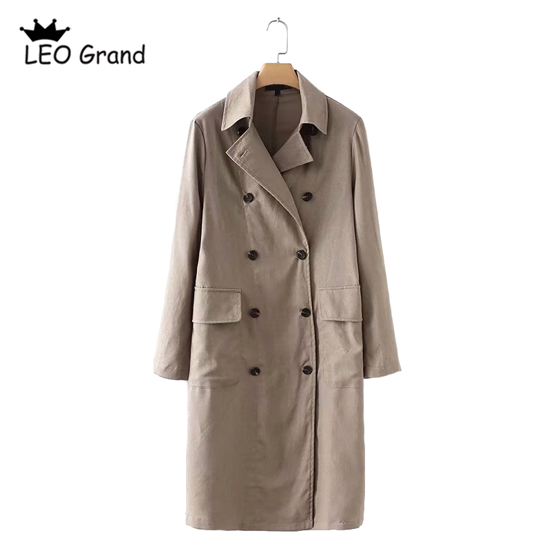 Vee Top women casual trench turn down collar long sleeves coat double breasted design outwear mujer 905120