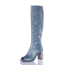 Brand New Women Knee High Summer Boots Sexy 7 CM Heels Ladies Blue White Black Gladiator Boots Open Toe Shoes