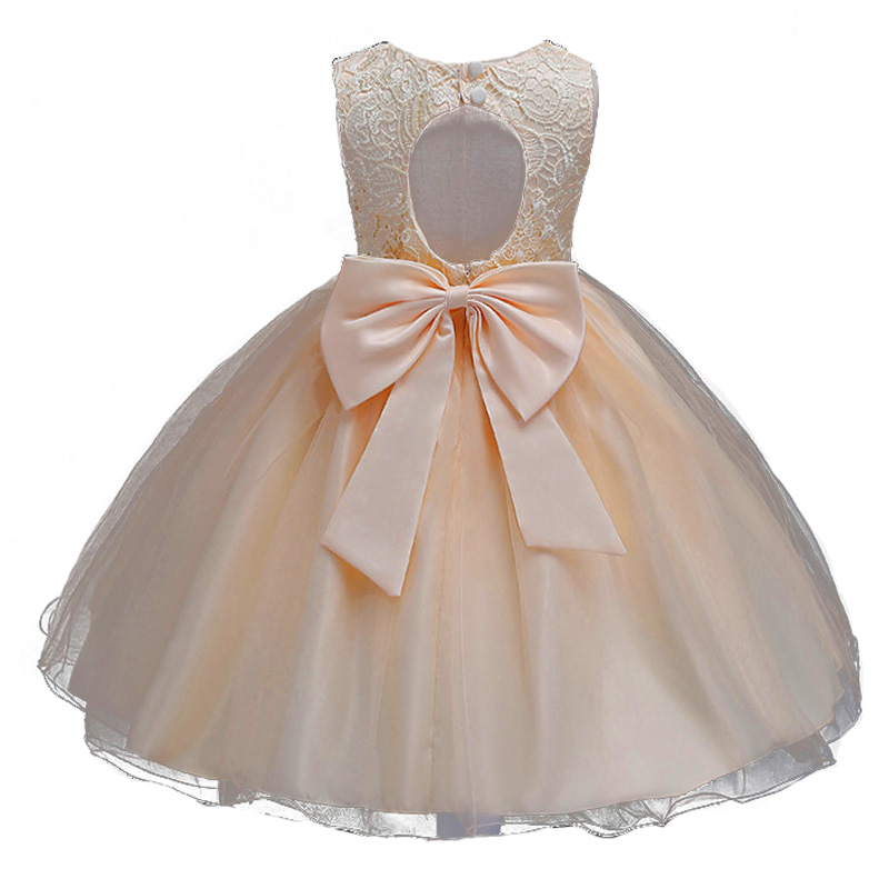 Champagne Children Baby Girl Dress Clothing Baeutiful Lace Christening Gown Tutu Formal Backless Princess Evening Party Dresses princess girl party dress children wedding birthday tutu dress infant lace corchet christening gown baby girls dresses clothes