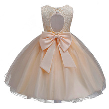 Champagne Children Baby Girl Dress Clothing Baeutiful Lace Christening Gown Tutu Formal Backless Princess Evening Party
