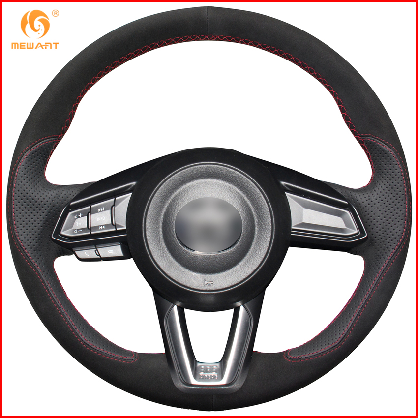MEWANT Black Leather Black Suede Steering Wheel Cover for Mazda 3 Axela 2017 Mazda 6 Atenza