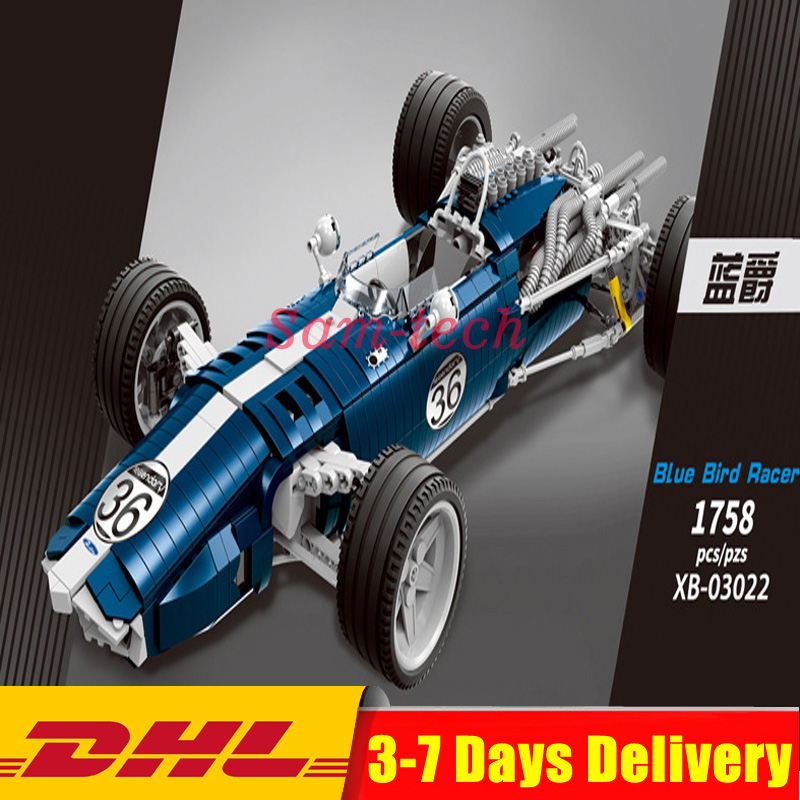 XINGBAO 03022 Genuine 1758PCS The Blue Racing Car Set Building Blocks Bricks Educational Funny Toys As New Year Gifts For Kids