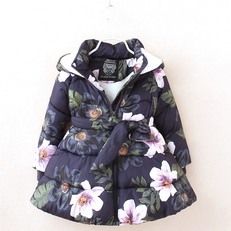 Winter Girls Jackets Coats For Girls New Kids Jackets Floral Printed Girls Parka Coats Fleece Warm Children Hooded Thick Jackets