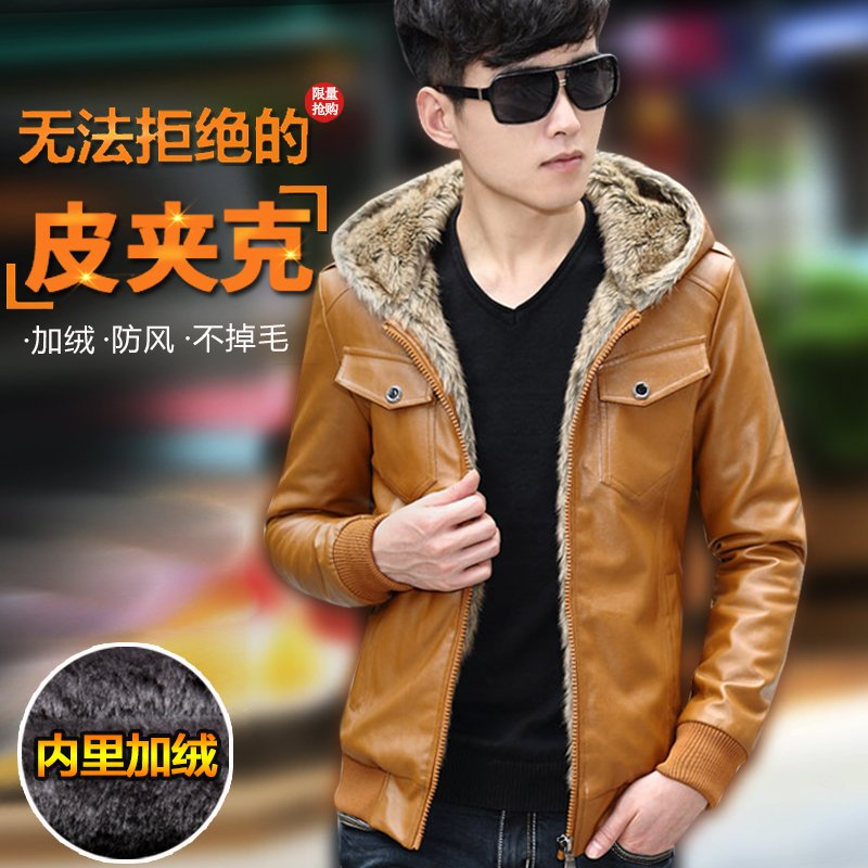 M~3XL! 2016 Motorcycle leather clothing male teenage slim velvet thickening outerwear leather jacket outerwear singer costumes 74
