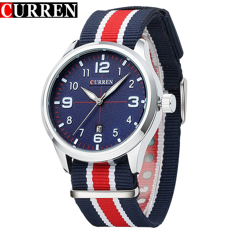 Curren Fashion Casual Quartz Watch Men's Top Brand Fabric Strap Wristwatch Men Classic Auto Date Clock Male relojes hombre top brand curren men s quartz watches men fashion wristwatch casual sports canvas clock male army analog relojes hombre 2017