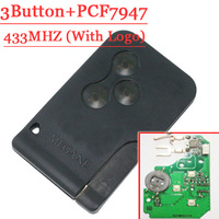 Excellent Quality 3 Button Remote Card With Pcf7947 Chip 433MHZ For Renault Megane CLIO SCENIC Free