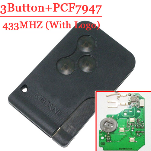 Excellent Quality 3 Button Remote Card with pcf7947 Chip 433MHZ For Renault Megane SCENIC  free shipping (2pcs/lot) brand new high quality remote key renault megane smart card 3 button with insert small key blade 434mhz id46 chip