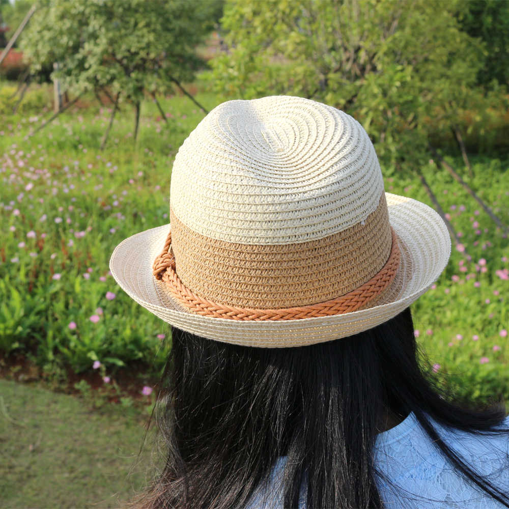 81b17b9ef3e87 ... 2018 new Summer small fedoras women s sun-shading sunscreen sun hat  fashion straw hat beach ...