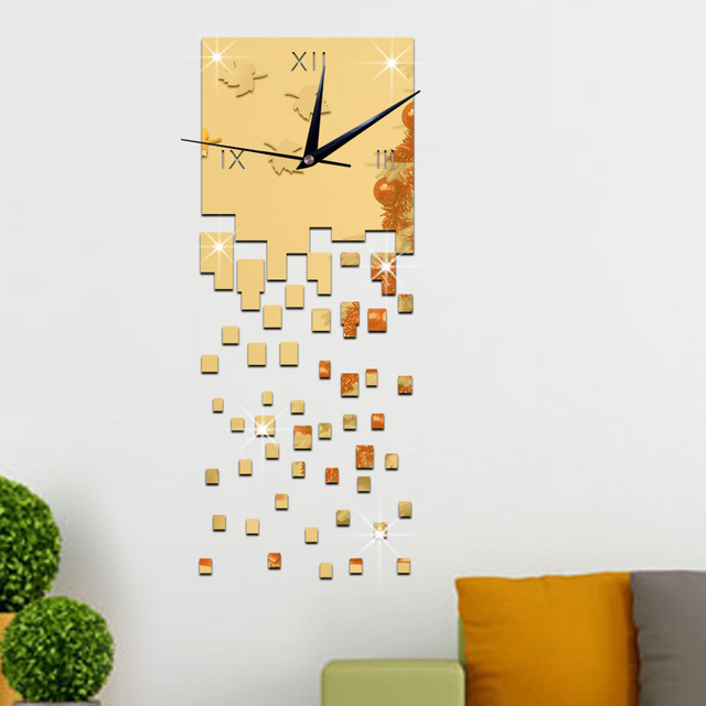 Art Office Wall Decoration Time Flies Square Wall Watch Relogio Digital  Reloj Mural DIY Home Decor