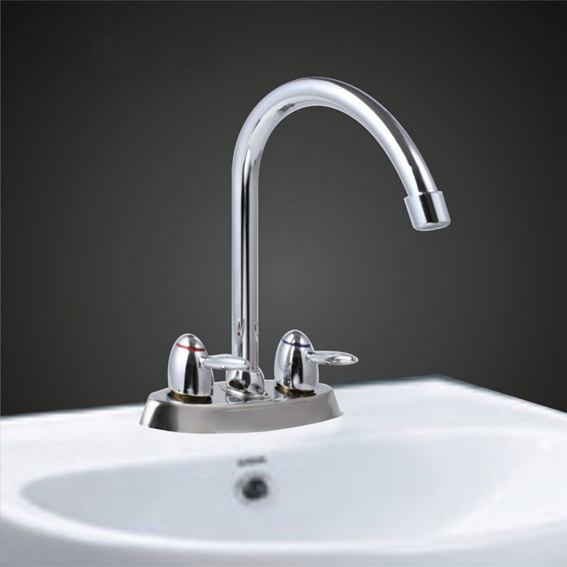 Copper Chrome Polish Double Handle Hole Kitchen Water Faucet Hot Cold Water Bathroom Sink Basin Washbasin