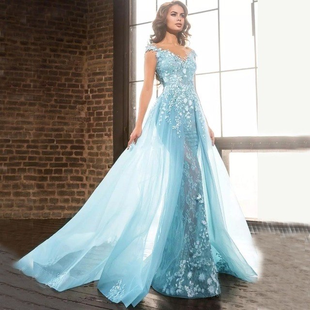 ee938672dca Light Blue Elie Saab Overskirts Prom Dresses Arabic Mermaid Sheer Jewel Lace  Applique Beads Tulle Formal Evening Party Gowns