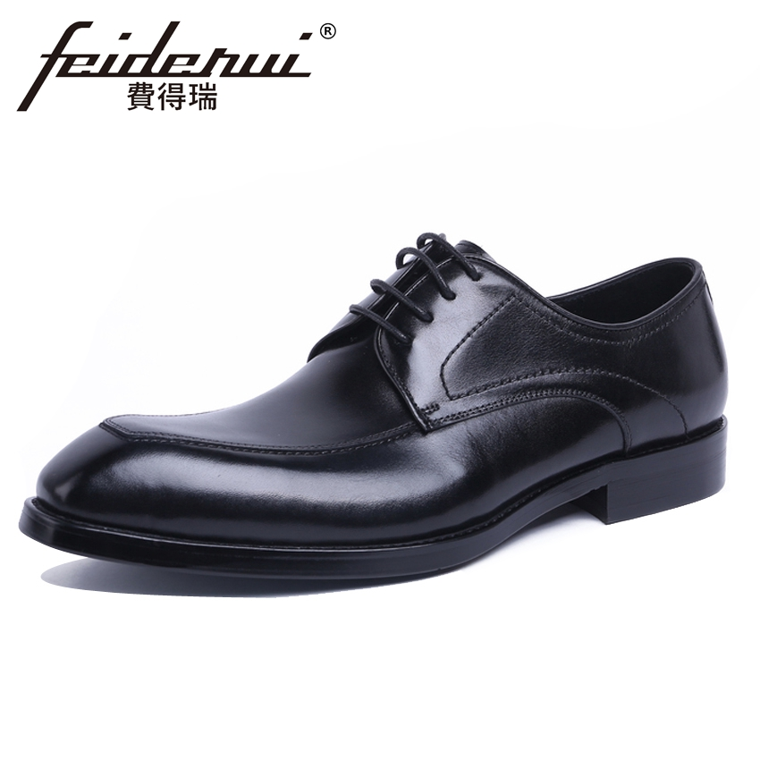 New Vintage Men's Formal Dress Derby Party Office Footwear Genuine Leather Round Toe Handmade Man Wedding Shoes For Bride YMX528 new arrival glossy black left handed 7 string guitar electric china custom shop for sale