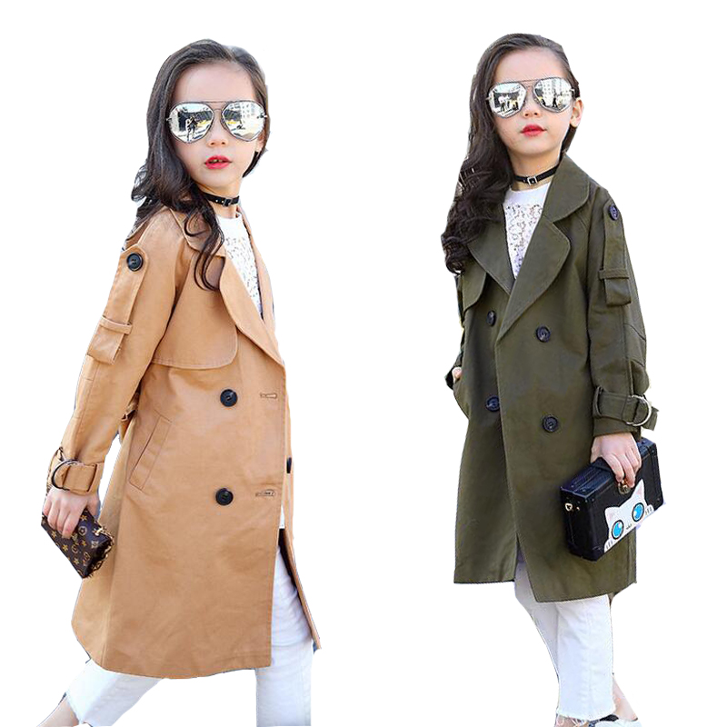 Girls Trench Coats Double Breasted Long Jackets For Girls Clothing Children Outerwear Spring Autumn Kids Windbreakers 5 7 12 15 free shipping candle lamp wrought iron restaurant bedroom chandeliers rural white candle wrought iron pendant led lights