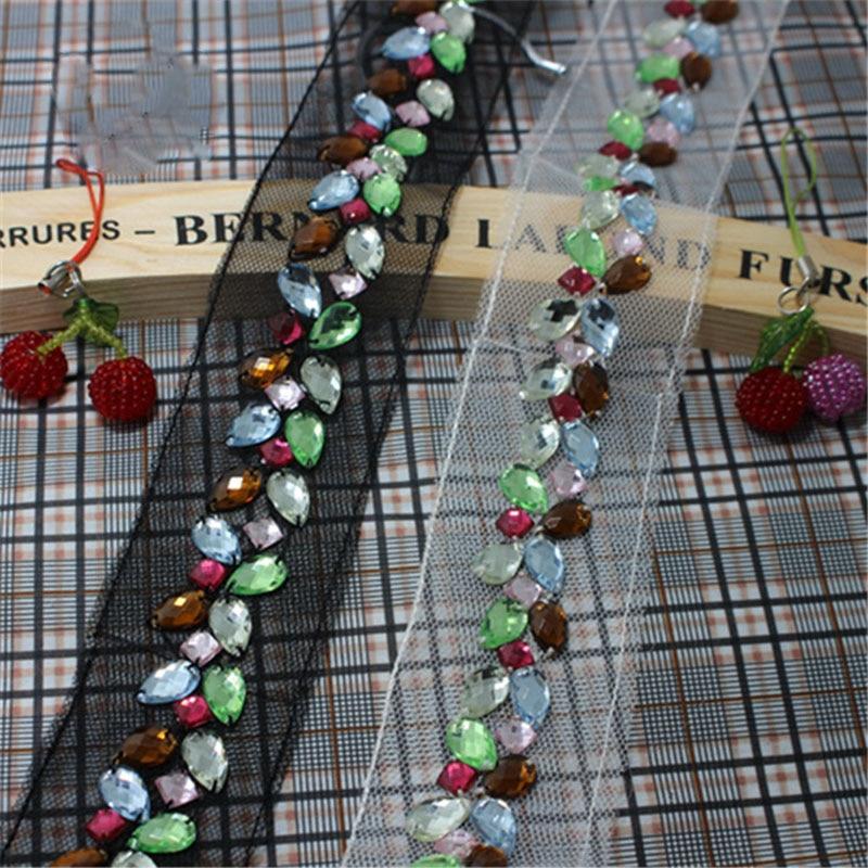 2 야드 라인 석 체인 트림 재봉 공예 의상 아플리케 블랙 화이트 메쉬 다채로운 크리스탈 DIY 공예 공급