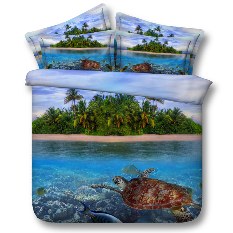 4pcs Turtle Island Bedding Sets Quilt Duvet Cover Set Bed