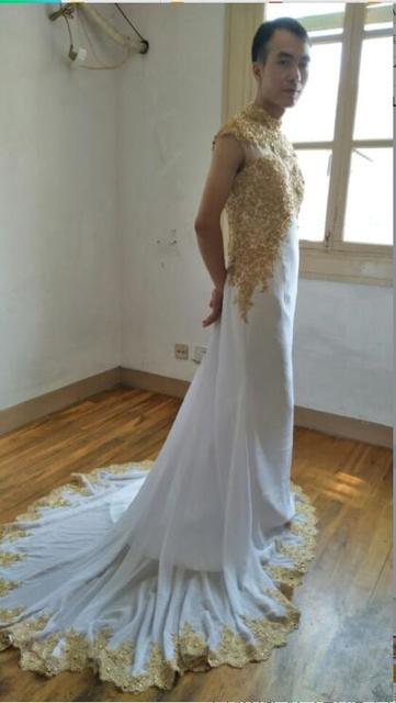 4695b39c98 2017 new arrival white cap sleeve mermaid prom dress beaded chiffon with  gold lace appliques high neck sexy prom gowns hot sale