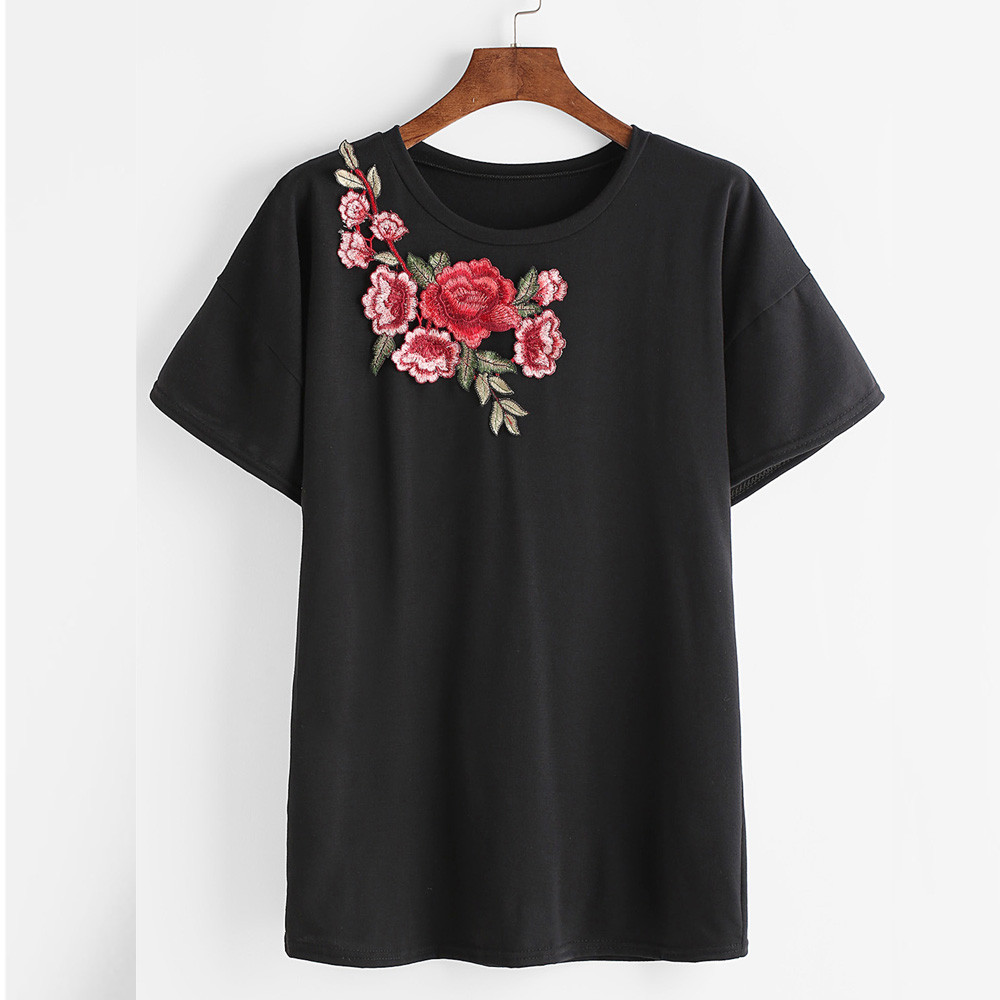 New fashion rose embroidered summer women tshirt