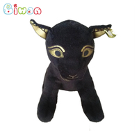 Biwan Stuffed Black Cat 22cm Plush Toys Soft Cute Golden printed Stuffed Animals With Beans in Body Children's Birthday Gifts