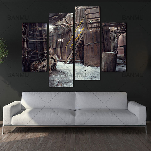 4 panel wall art abandoned factory industrial background machine messy painting the picture print on canvas