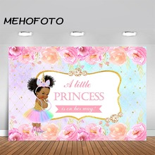 MEHOFOTO Princess Baby Shower Backdrop African American Girl Rainbow Watercolor Flower Party Banner Photography Background