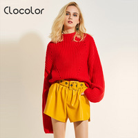 Clocolor Women Sweater 2017 Round Neck Loose Pullover Long Sleeve Knitwear Autumn Fashion Top Modern Female