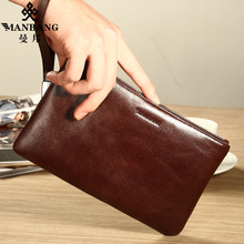 2017 New Brand Men Leather wallet long cowhide luxury leather brand soft black coffee purse MBS2631