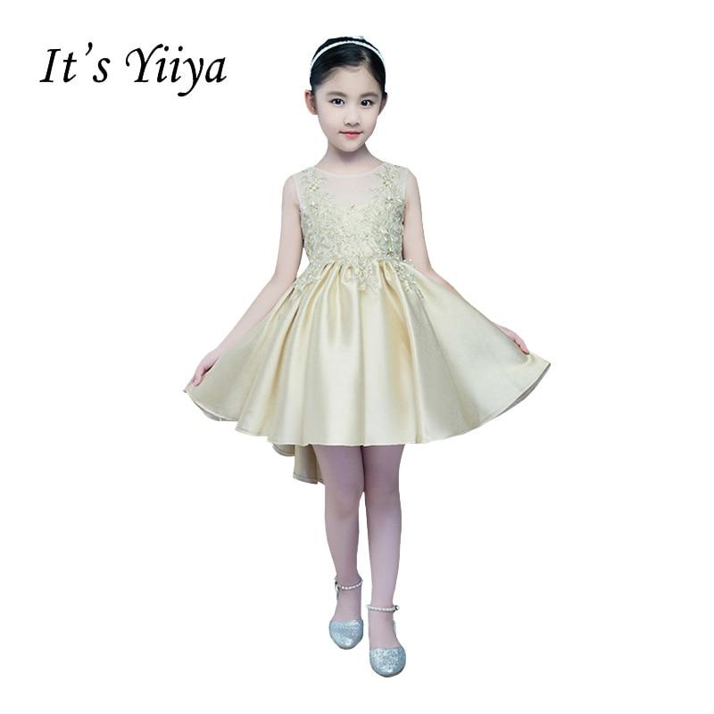 It's YiiYa O-neck Sleveless Zipper Illusion Lace Embroidery Knee-length Ball Gown Princess   Flower     Girls     Dress   Communion TS242