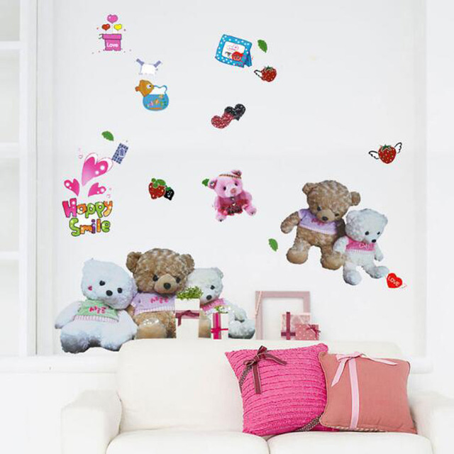 room decor gifts cat pusheen room 5070cm baby room decor teddy bear childrens bedroom rural scenery vinyl wall stickers home
