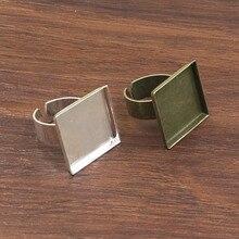 Подходит: 20 мм кольцо из металла квадратная пустая установка рамка пустая кабошон кольцо база для DIY кольцо 10 шт./лот K05116