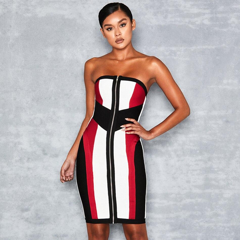 Robe Sans Club Style Bretelles Bandage Embelli Nouveau Robes Hors Manches L'épaule De Femme Colorblock Gaine Zipper xPZXwBR
