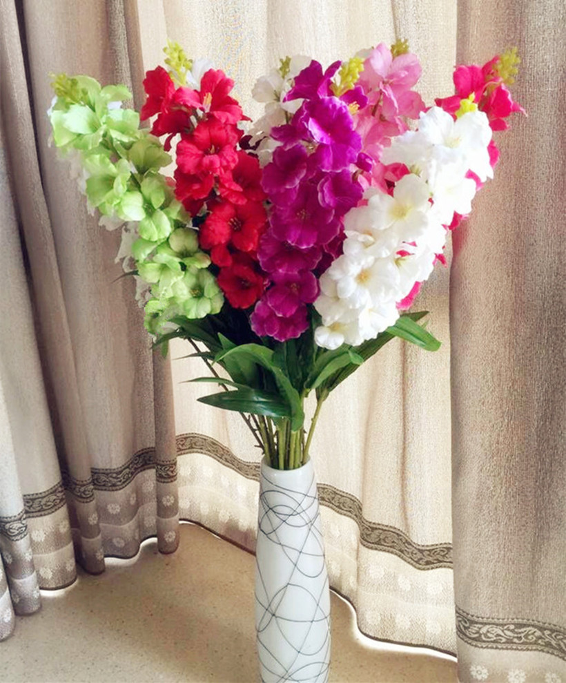 6pcs Hibiscus Flower 18 Heads 93cm3661 Fake Gladiolus For Wedding