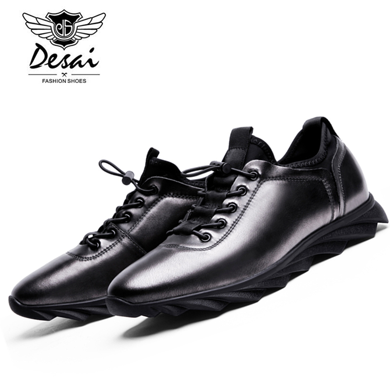 DESAI New Arrivals Comfortable Breathable Plate Shoes Men Simple Atmosphere Wearable Genuine Leather Casual Shoes D163913-03 kelme 2016 new children sport running shoes football boots synthetic leather broken nail kids skid wearable shoes breathable 49