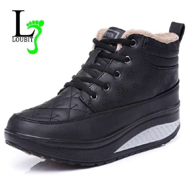 Mulheres Botas Além de Botas de Pele De Mulheres de Sapatos de Cunha Oculta Botas do Tornozelo da Plataforma de Salto Alto Top Lace-Up Sapatos Botas de Inverno tamanho 35-40