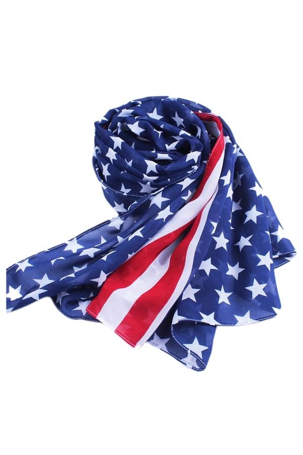 SAF-Doux Wrap Lady Châle USA Drapeau Mousseline de Soie Longue Écharpe  Echarpes Volé 0ab6ef797e7