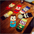 36-43 Summer Men Harajuku Socks Hip Hop Ninja Batman Superman SpiderMan Captain America Avengers Short Novelty Sokken