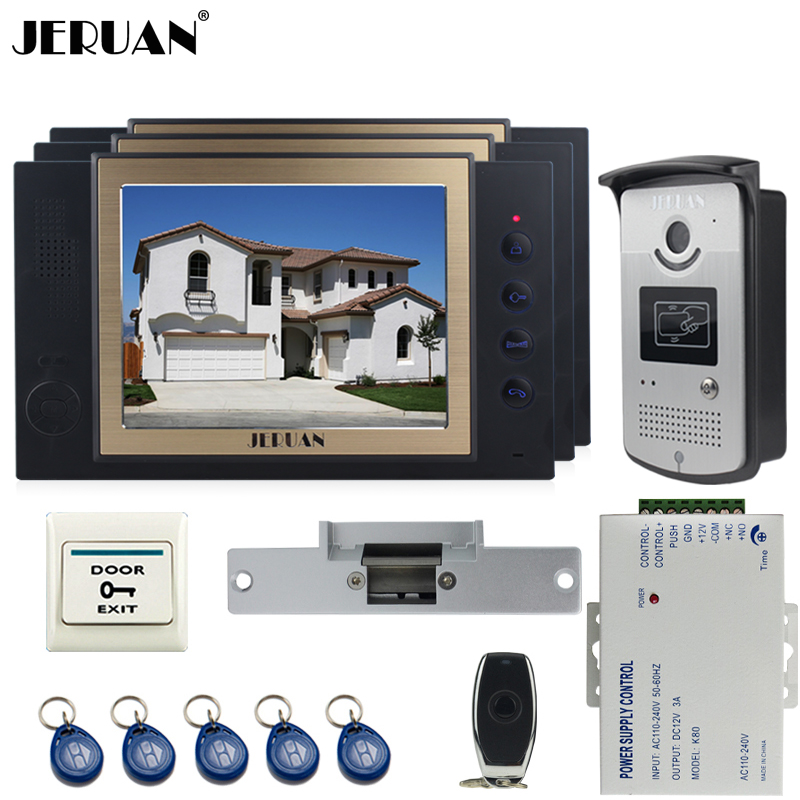 JERUAN luxury 8`` LCD Video Door Phone three 700TVT Camera access Control System+Cathode lock+Remote control+8GB card jeruan black 8 lcd video door phone system 700tvt camera access control system cathode lock remote control 8gb card