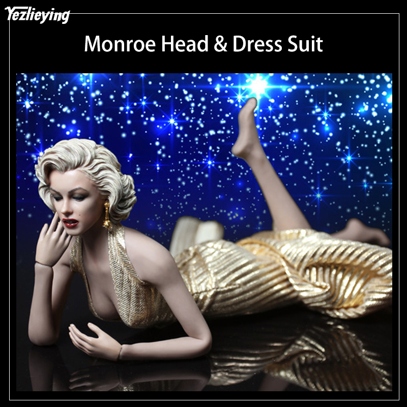 "1/6 Sexy Marilyn Monroe Head & Dress Figure Suit & Shoes f 12""Largest Breast Body TBL Seamless Steel Skeleton Action Figure DIY"