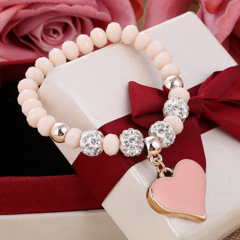 2018 newest heart-shape drop Shambhala fireball beads bracelets & bangles for women popular style 6 color are available