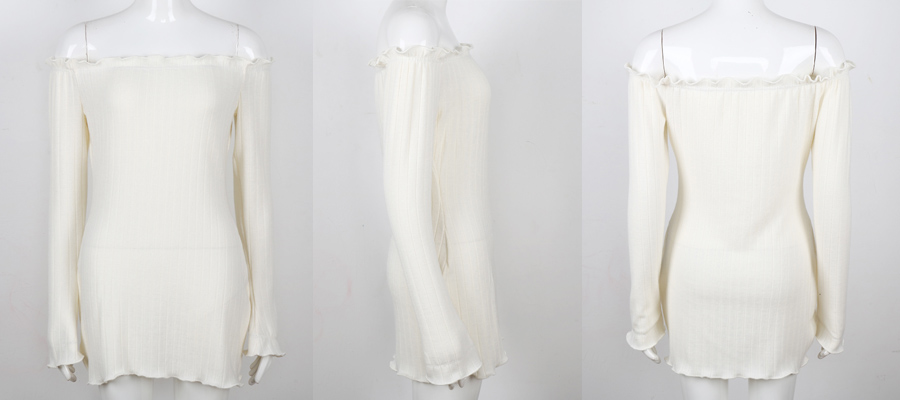 HTB1K9GAaUl7MKJjSZFDq6yOEpXac - FREE SHIPPING Women Sexy Off Shoulder  Bodycon Dress Knitted Elastic Sweater JKP304