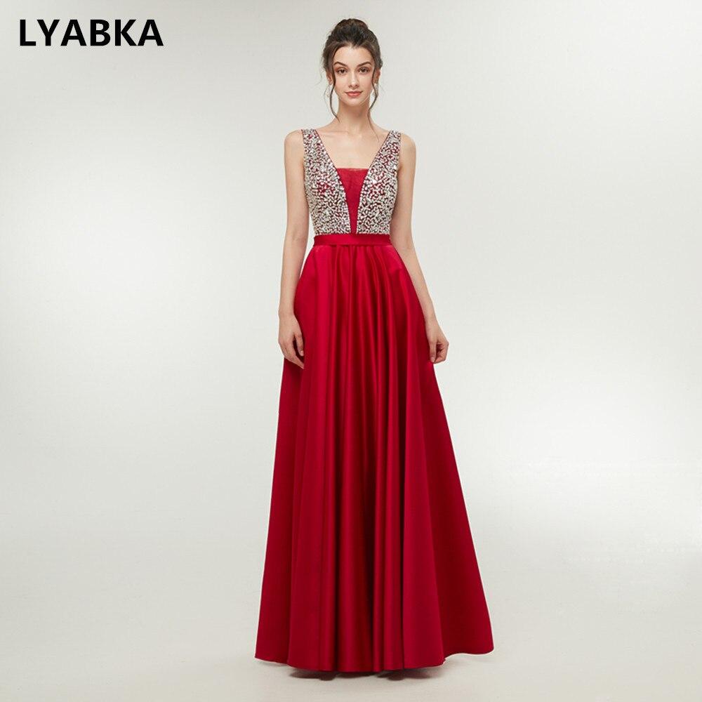 V Neck Evening Dress Elegant Robe De Soiree Satin Sequined Evening Dresses Long Dress 2019 Reflective