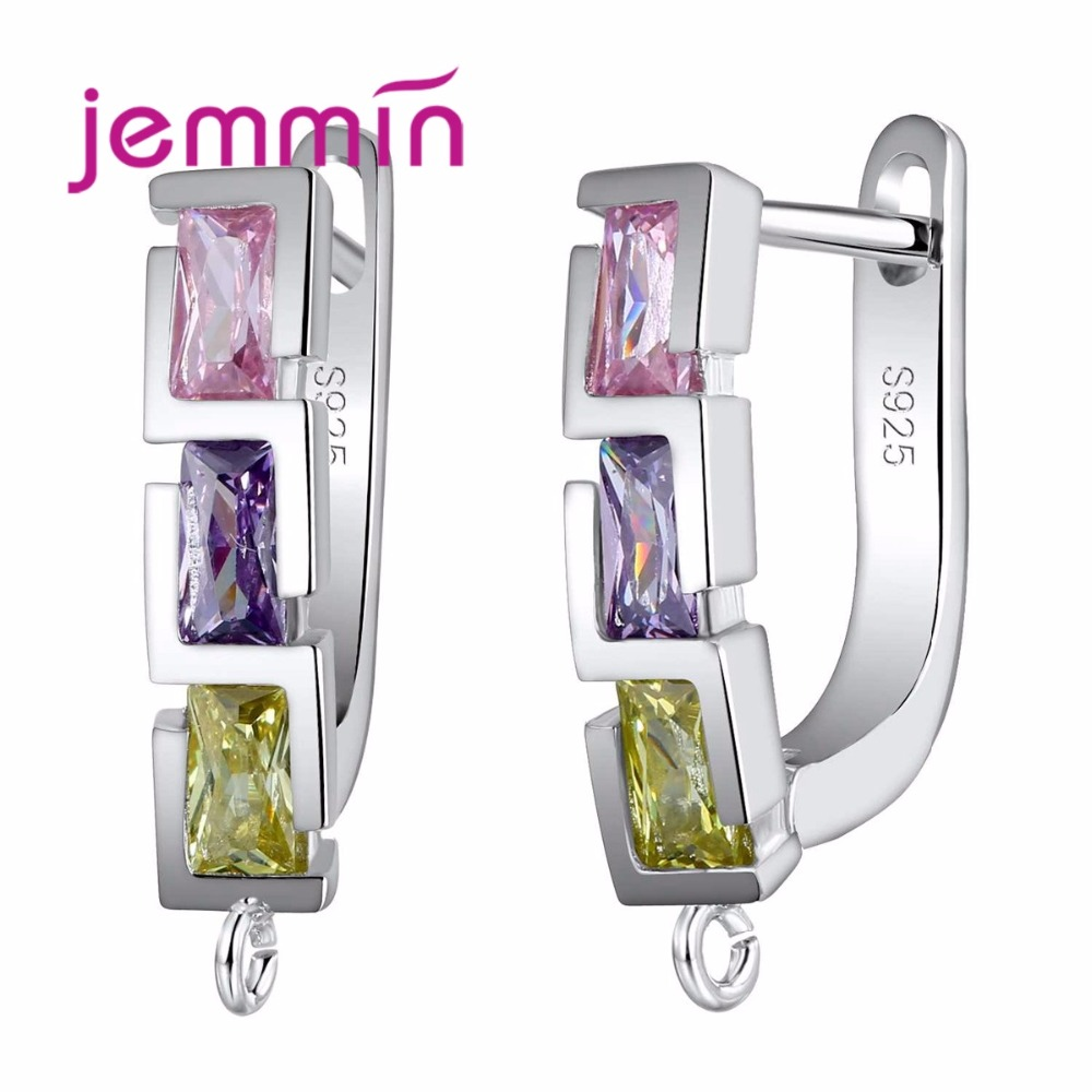 Geometric Design Fine Austrian Crystal Earring Findings For Making Accessory 925 Sterling Silver Hoop Ear Wire Components