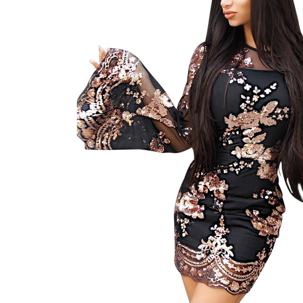 2018 New Black Gold Floral Knit Women's Dresses Luxury Sequins Around The Neck Long Flare Sleeves Bodycon Mini Party Sexy Dress
